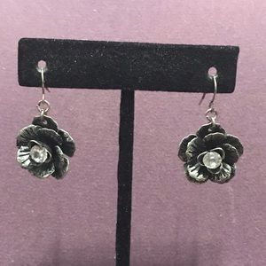 Pewter tone with bling floral earrings. 3/$12 Sale
